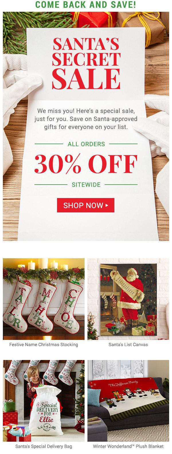 Santa's Secret Sale! Save 30% off today only.