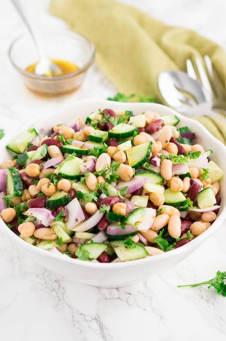 3 bean salad recipe in a white bowl