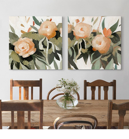 Rustic Farmhouse Dining Room with Vivid Floral Art