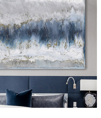 Oversized Blue Abstract in Classic Glam Space