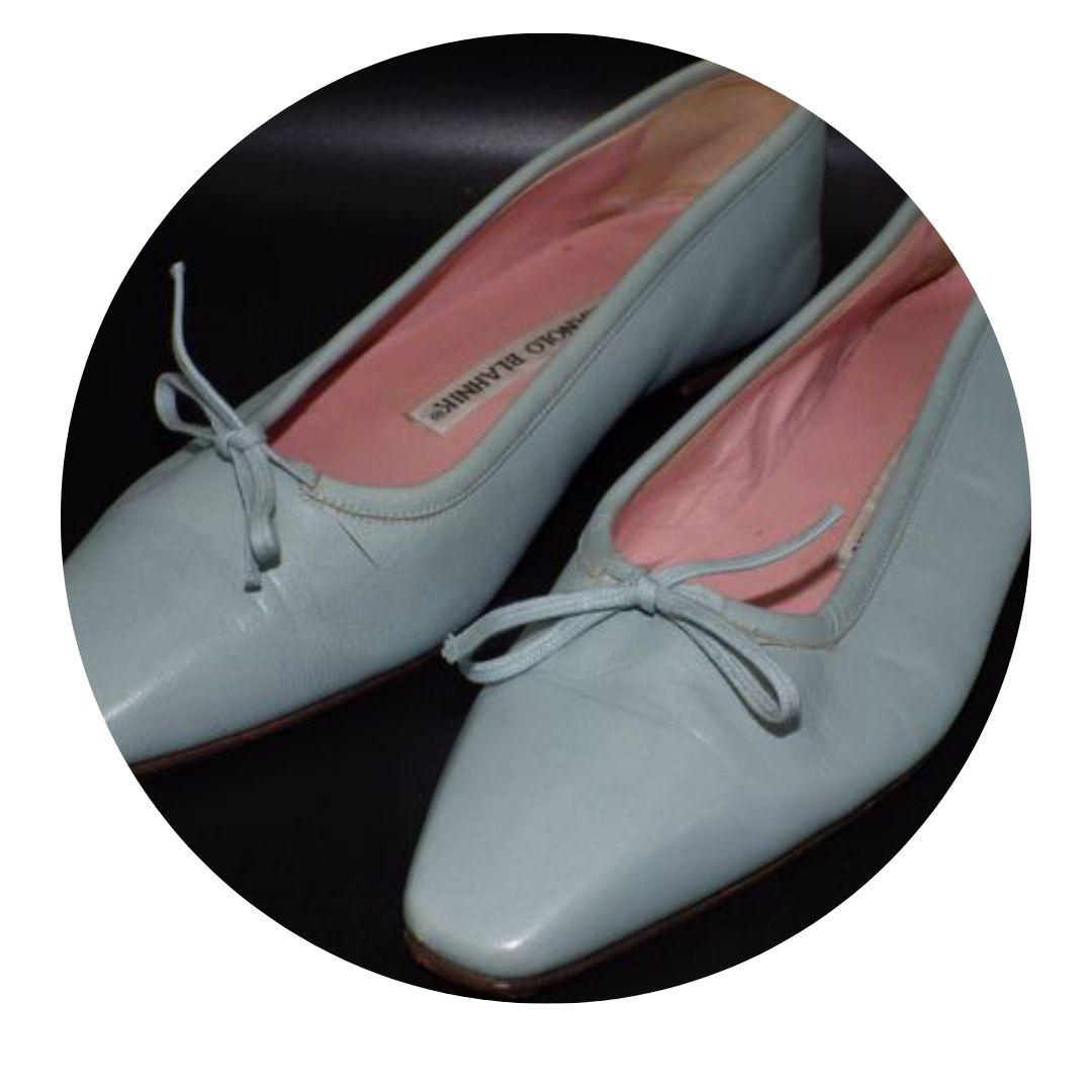 Manolo Blahnik Flat Shoes Baby Blue