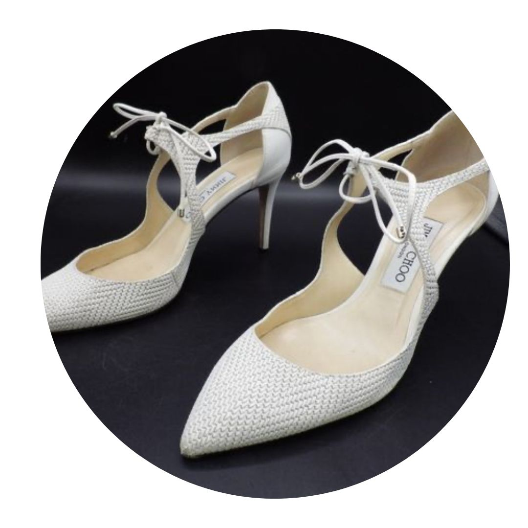 Jimmy Choo Tied Dorsay Heel Pumps White Leather