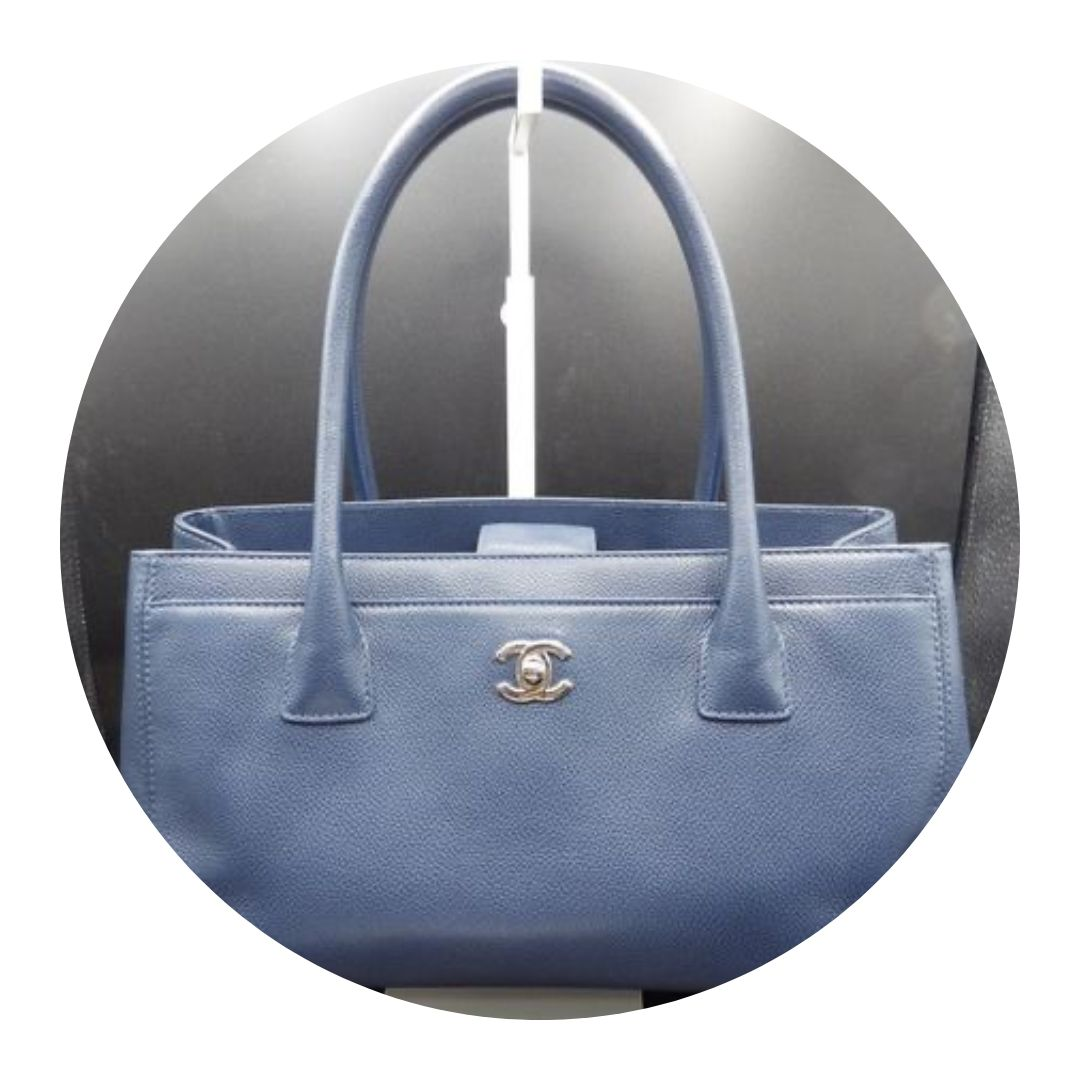 Chanel Blue Caviar Leather Cerf Tote