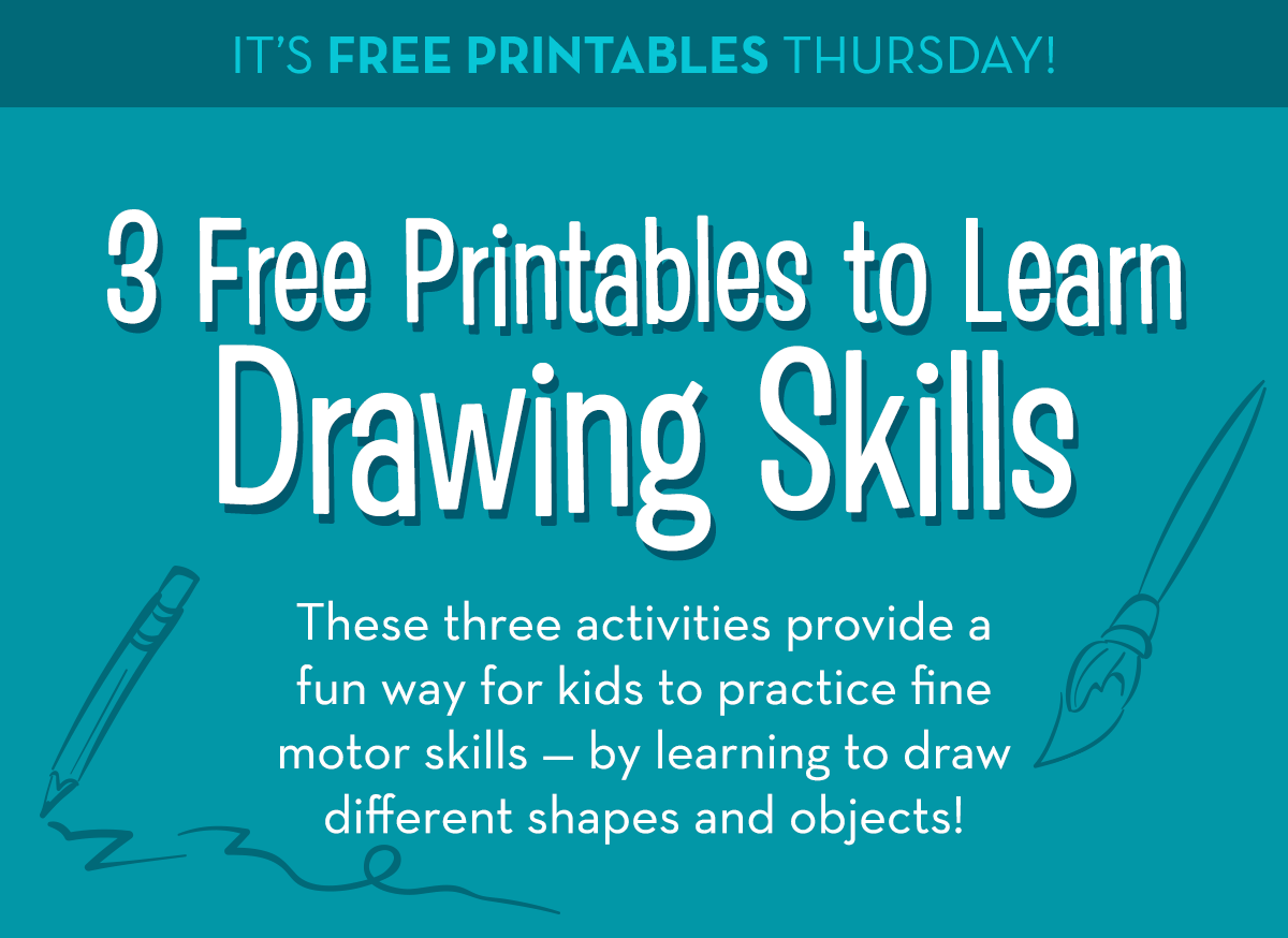 It's Free Printables Thursday! 3 Free Printables to Learn Drawing Skills - These three activities provide a fun way for kids to practice fine motor skills, by learning to draw different shapes and objects!