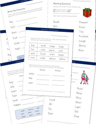 Synonym and Antonym Worksheets