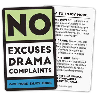 No Excuses Pocket Cards (green)