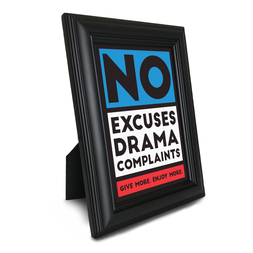 No Excuses Framed Print (red)