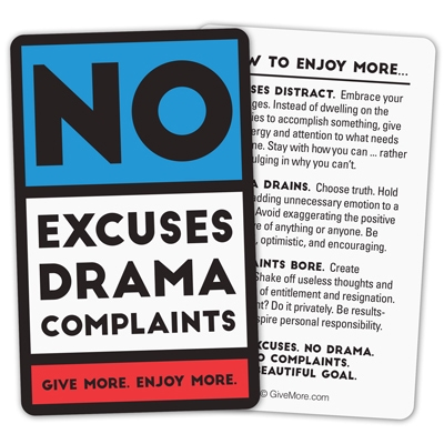 No Excuses Red Pocket Cards