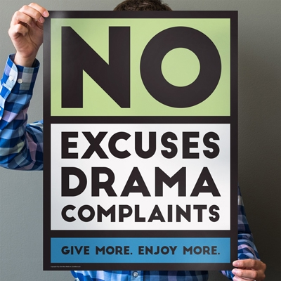 No Excuses Green 18 in. x 24 in. Poster