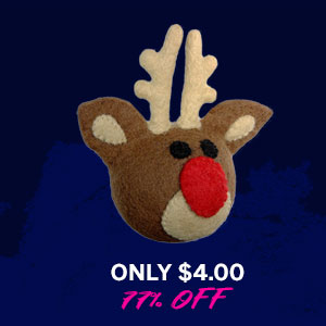 Wooly Wonkz Christmas Ball Dog Toy - Rudolph