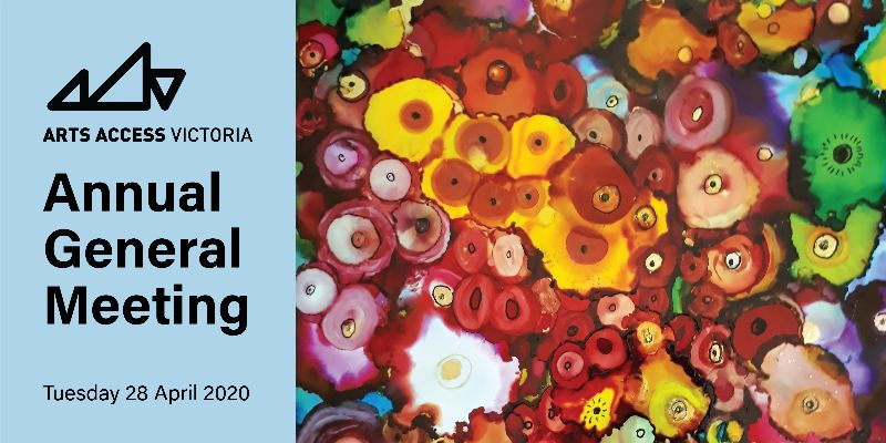 A colourful watercolour artwork with shapes that look like flowers with the AAV logo and the text ''Annual General Meeting''