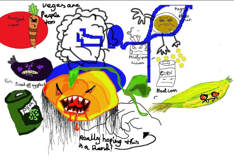 Angry vegetables, such as a pumpkin, a corn cob, a carrot and a can of peas, drawn digitally.