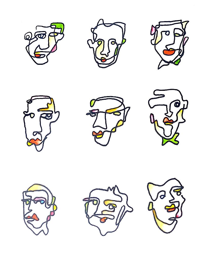 Nine portraits drawn with a continuous line.