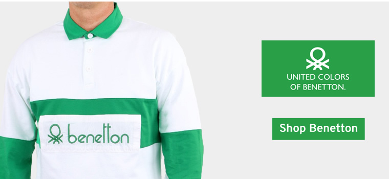 Benetton Rugby Shirt White Green