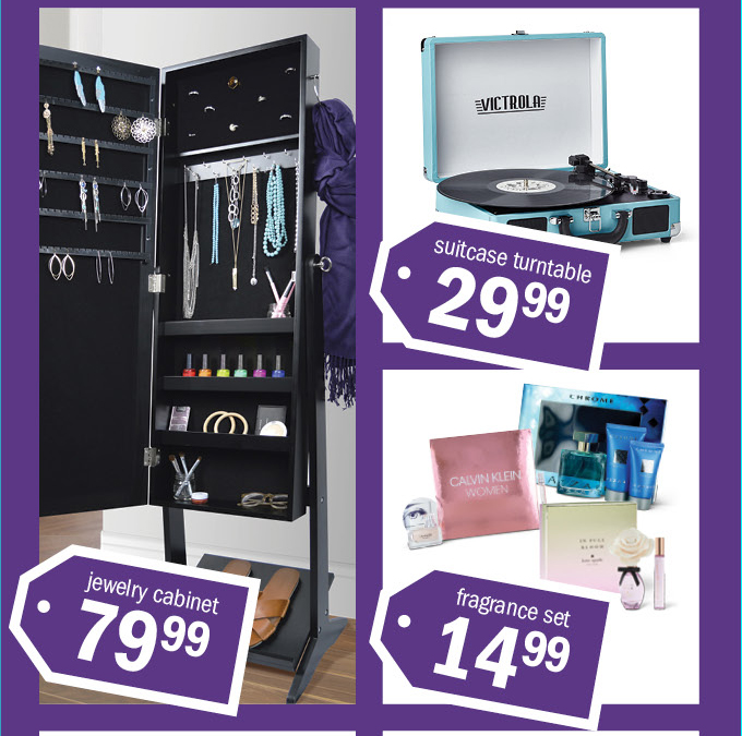 suitcase turntable 2999 | jewelry cabinet 7999 | fragrance set 1499