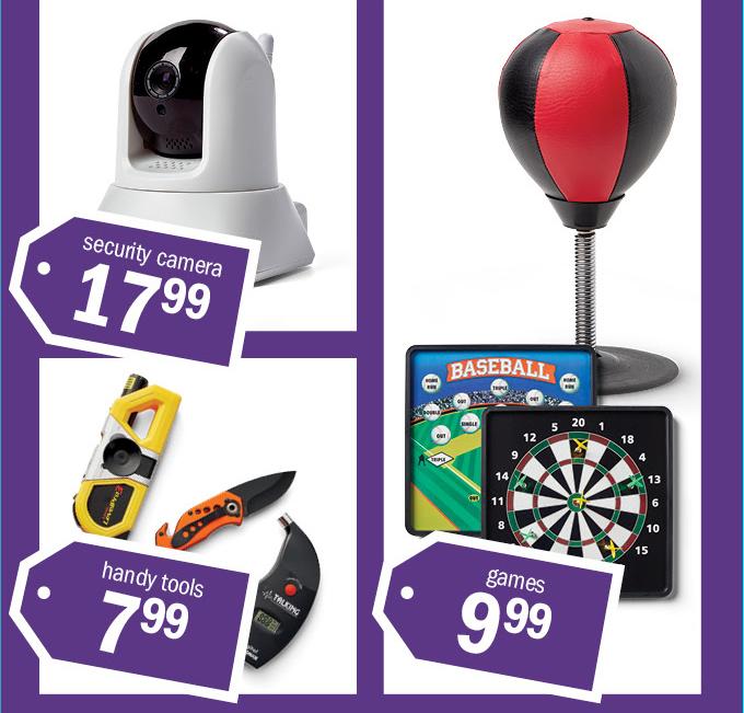 security camera 1799 | handy tools 799 | games 999