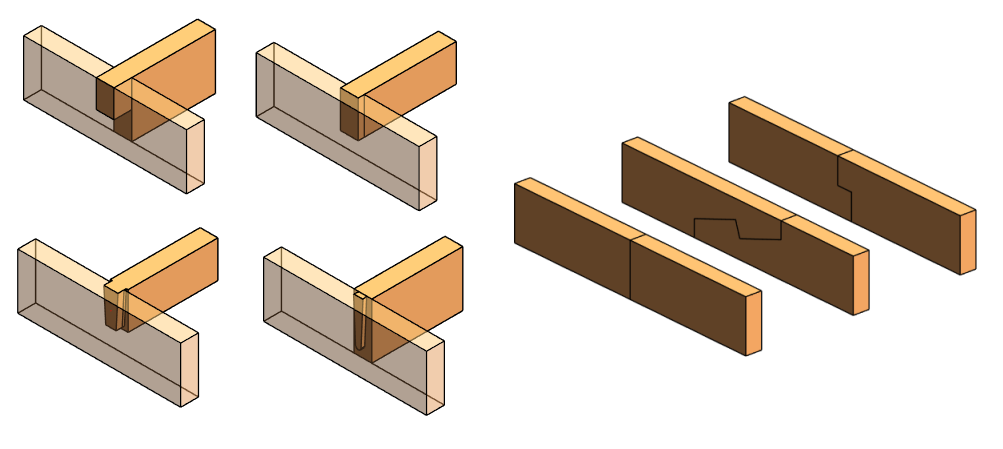 Heavy timber girder-to-girder connections modeled in Autodesk Revit using AGACAD Wood Framing OAK BIM software