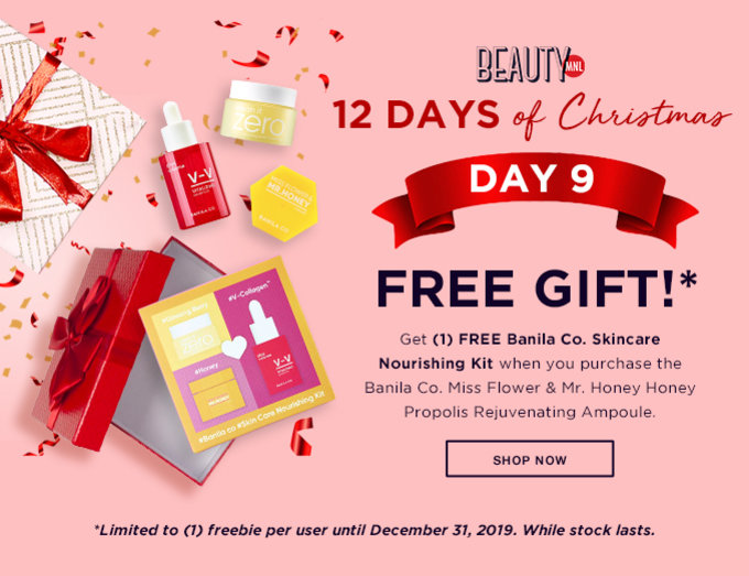 12 DAYS OF CHRISTMAS | DAY 9 | FREE GIFT | Get (1) FREE* Banila Co. Skincare Nourishing Kit when you purchase the Banila Co. Miss Flower & Mr. Honey Honey Propolis Rejuvenating Ampoule | SHOP NOW >>