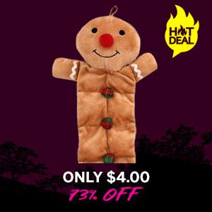 Grriggles Holiday Squeaktacular Dog Toy - Gingerbread Man