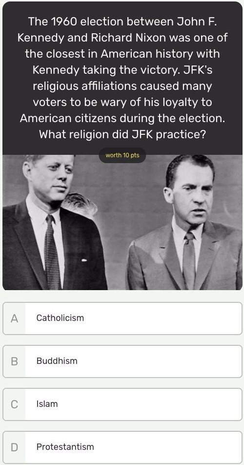 What religion did JFK practice?