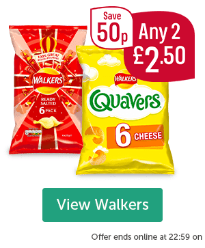 Walkers Ready Salted 6 pack Walkers Quavers 6 Pack Any 2 �50 Save 50p View Walkers Offer ends online at 22:59 on
