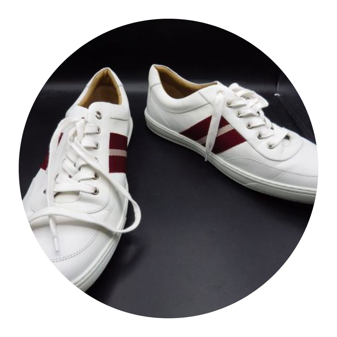 Bally White W Red Trim Sneakers Size 12