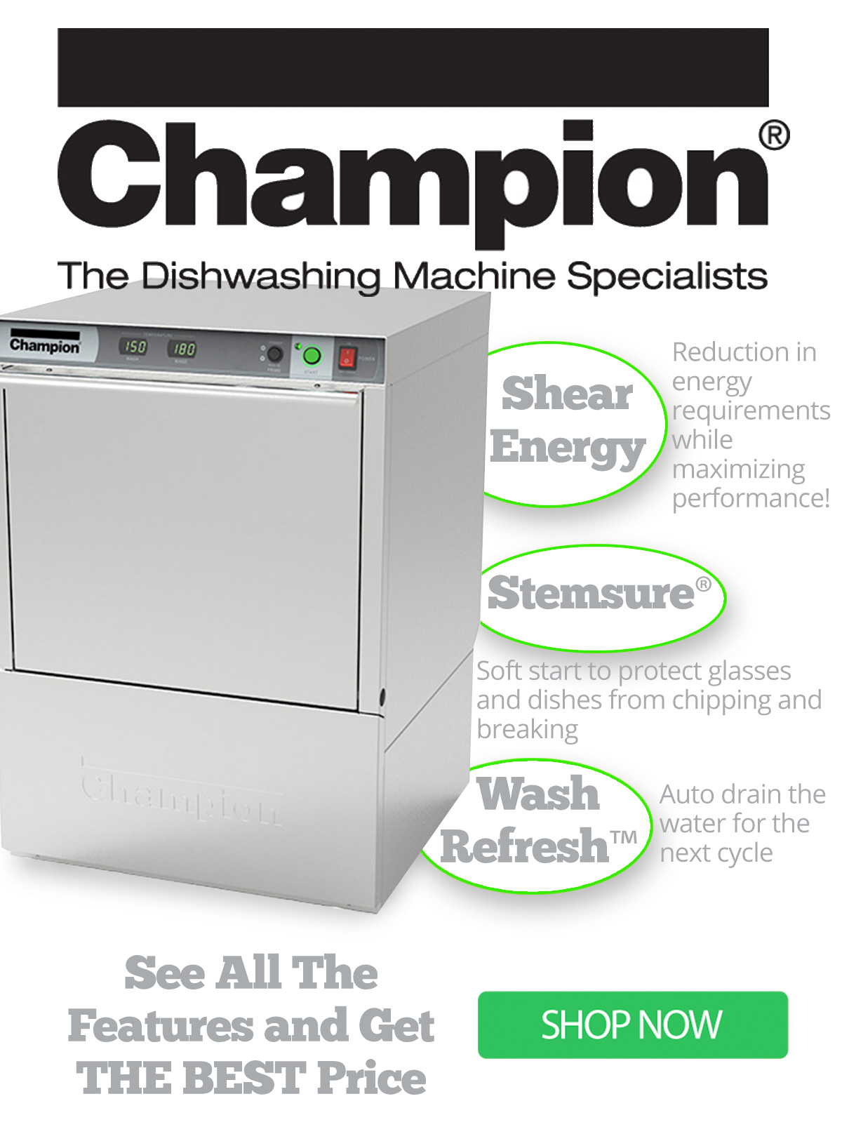 Get the best price on the best dishwasher - shop this Champion Undercounter Dishwasher today!