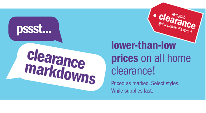 pssst... clearance markdowns