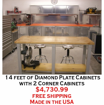 14 feet of Diamond Plate Cabinets with 2 Corner Cabinets