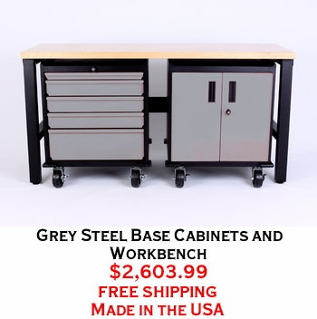 Grey Steel Base Cabinets and Workbench