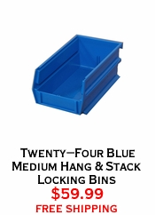 Twenty-Four Blue Medium Hang & Stack Locking Bins