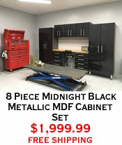 8 Piece Midnight Black Metallic MDF Cabinet Set