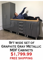 9ft wide set of Graphite Gray Metallic MDF Cabinets