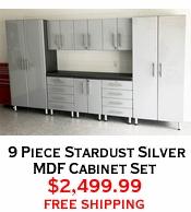 9 Piece Stardust Silver MDF Cabinet Set