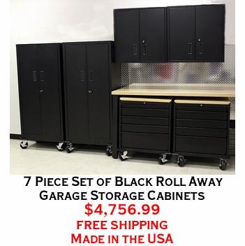 7 Piece Set of Black Roll Away Garage Storage Cabinets