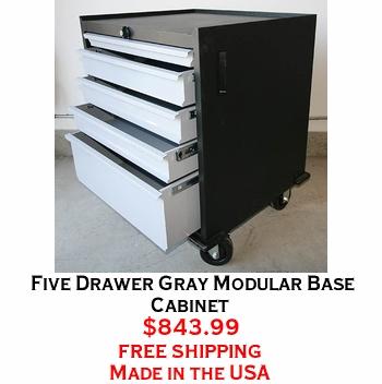 Five Drawer Gray Modular Base Cabinet