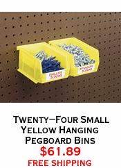 Twenty-Four Small Yellow Hanging Pegboard Bins