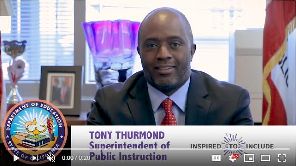 Watch Superintendent of Public Instruction, Tony Thurmond's video now.