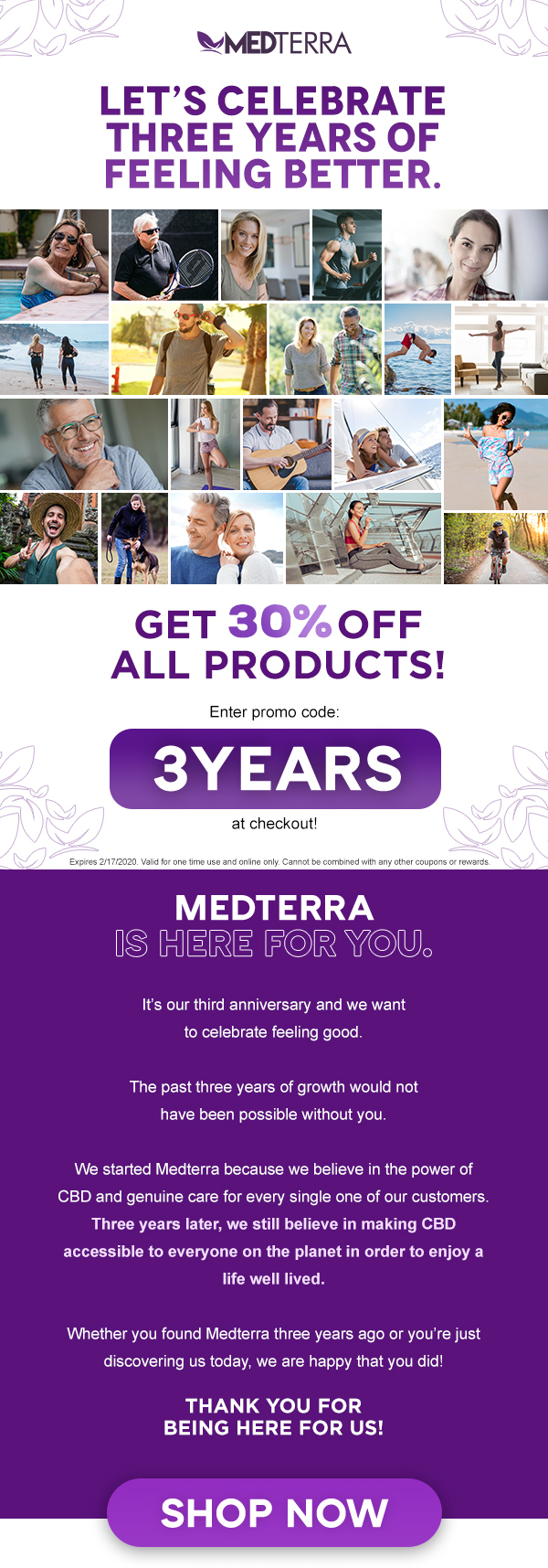 Get 30% off with the code 3YEARS
