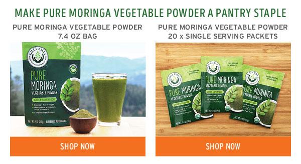 Text: Make Pure Moringa Vegetable powder a pantry staple