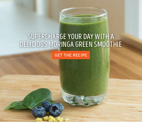Image: Supercharge your day with a delicious moringa green smoothie. Link: Get the recipe