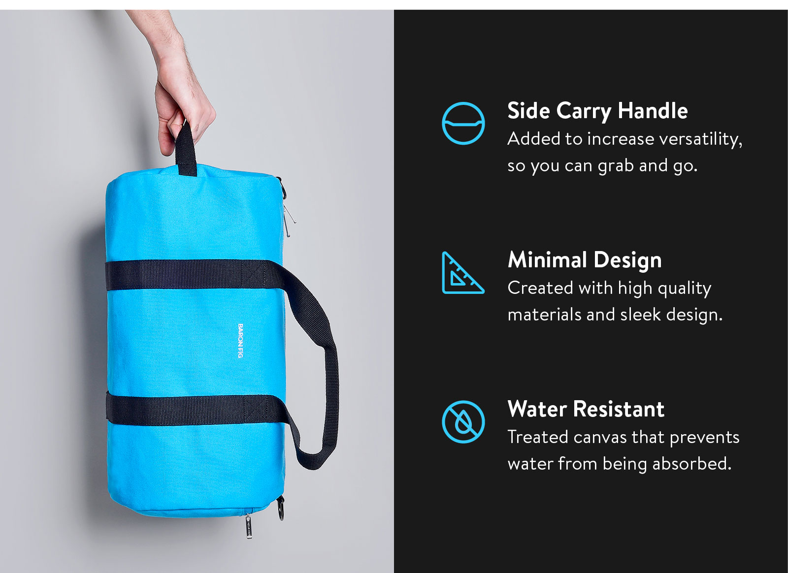 Side carry handle. Minimal design. Water resistant. See more ?