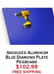 Anodized Aluminum Blue Diamond Plate Pegboard