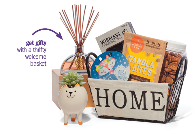 get gifty with a thrifty welcome basket