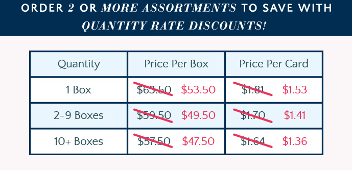 Quantity Rate Discounts on 2 or more boxes!