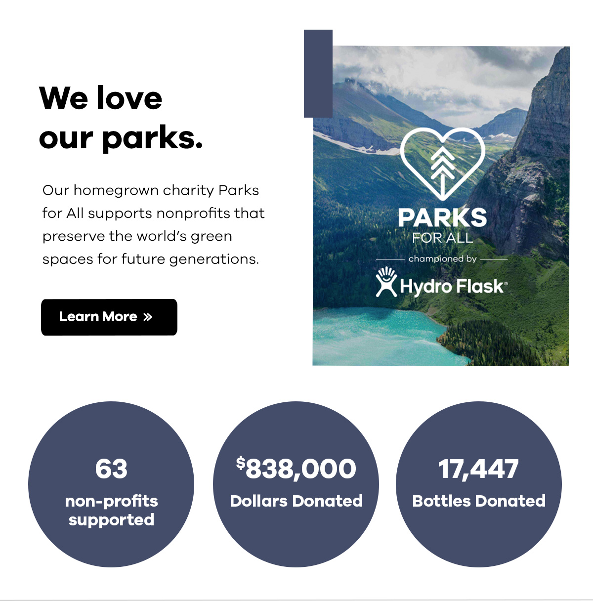 We love our parks. Our homegrown charity Parks for All supports nonprofits that preserve the world's green spaces for future generations. | Learn More >>
