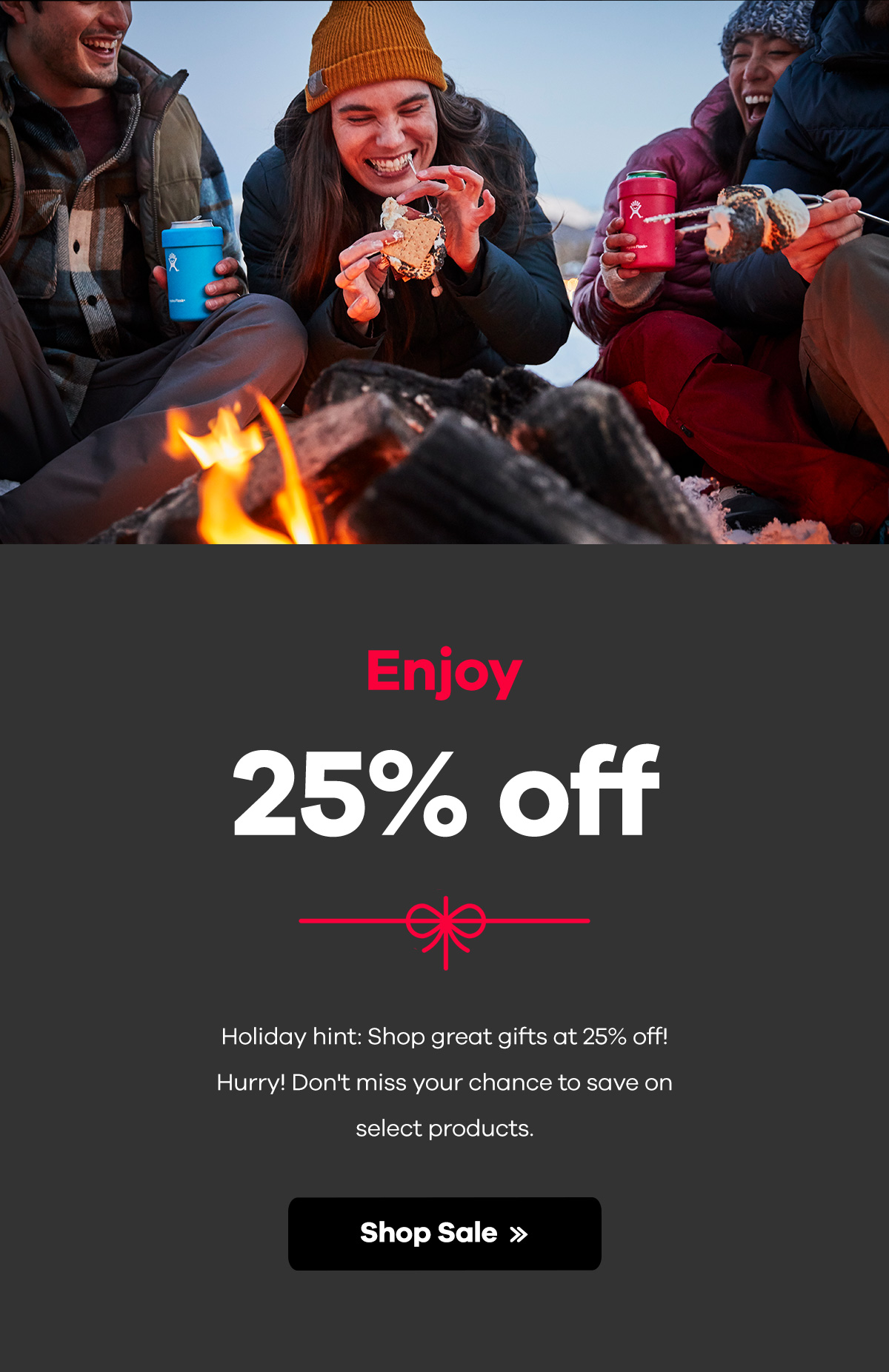 Enjoy 25% off. Holiday hint: Shop great gifts at 25% off! Hurry! Don't miss your chance to save on select products. | SHOP SALE >>