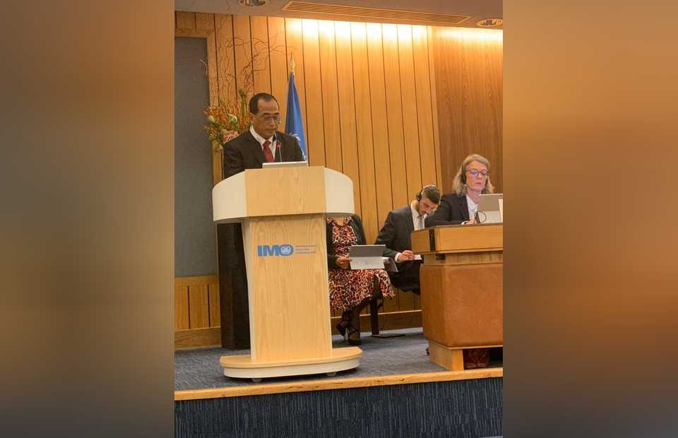 Transportation Minister Budi Karya Sumadi speaks at the 31st plenary meeting of the International Maritime Organization (IMO) in London on Tuesday. (Photo courtesy of the Transportation Ministry)