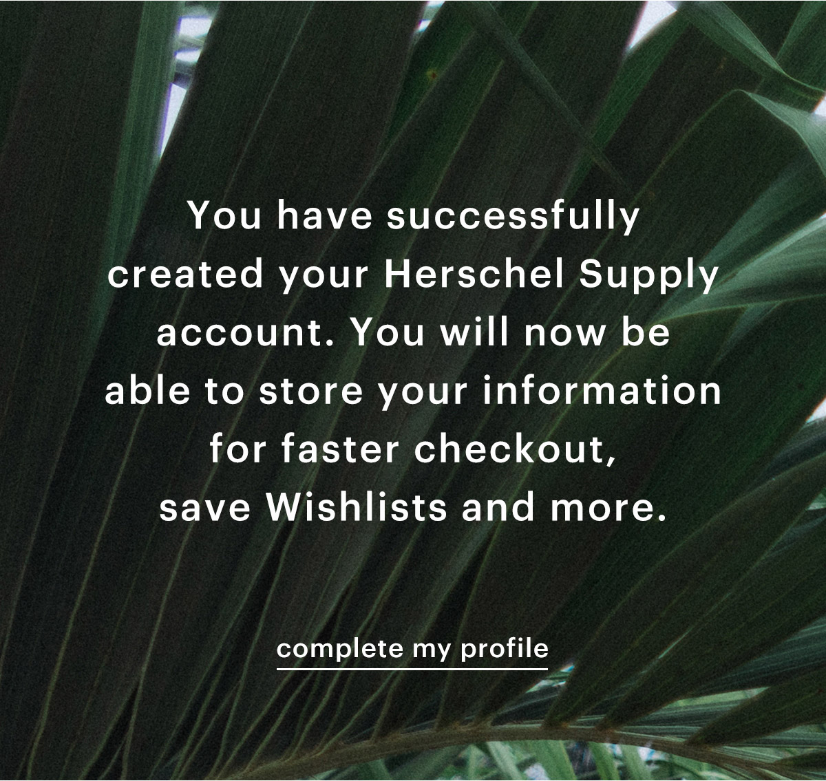 You have successfully created your Herschel Supply account. You will now be able to store your information for faster checkout, save Wishlists and more.