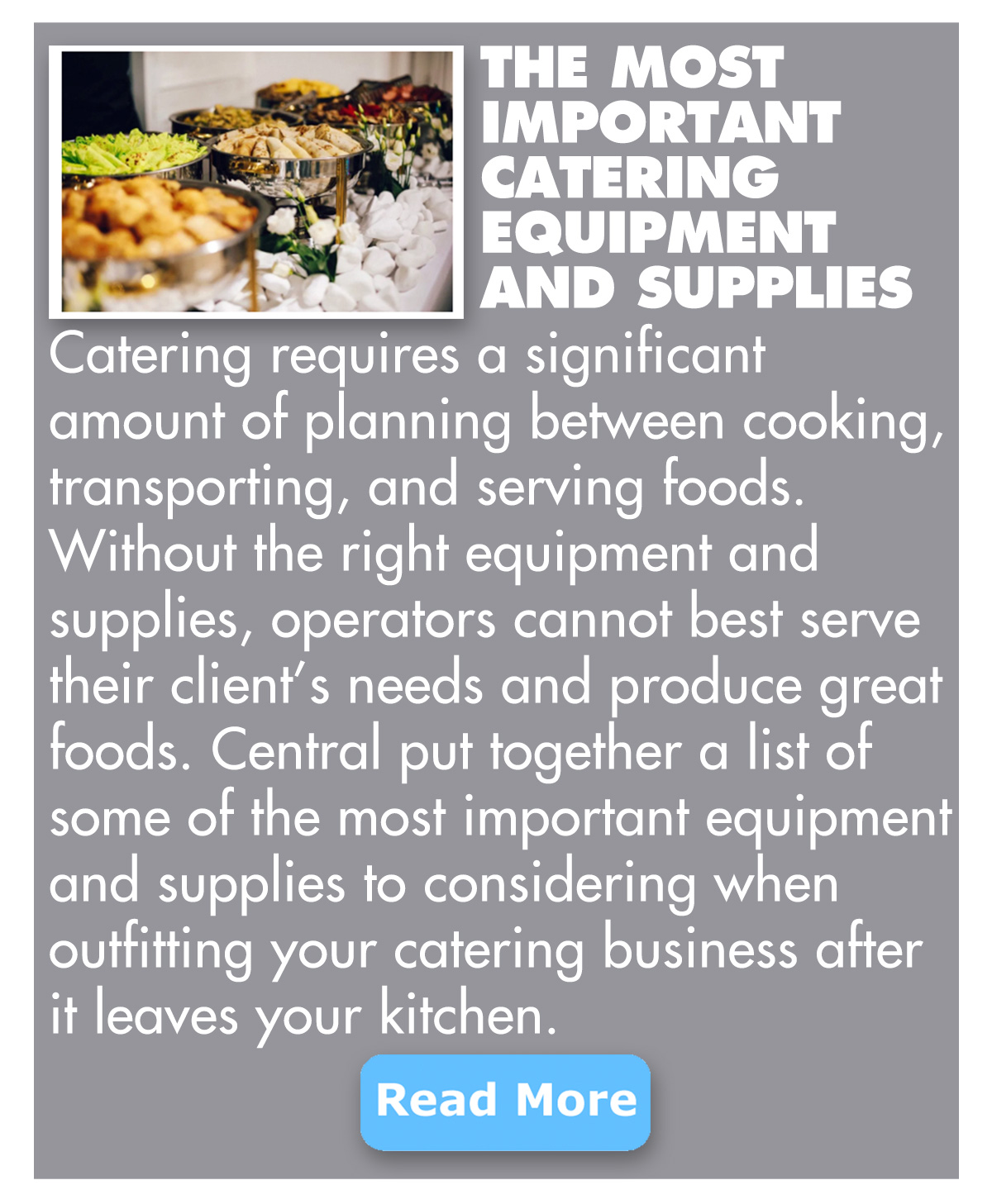 The most important catering equipment and supplies